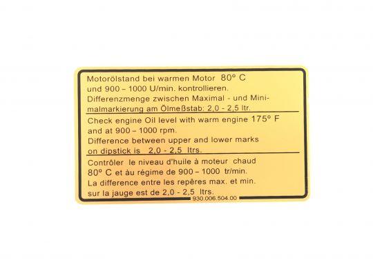 Adesivo Livello Olio 911 3.0Sc 77-80