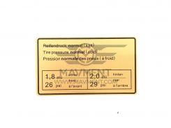 Adesivo Pressione Pneumatici - Repro
